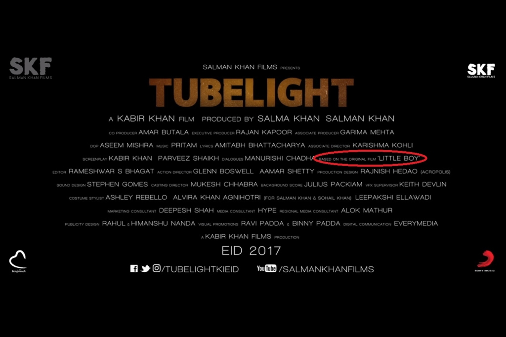 Tubelight is official remake of Little boy